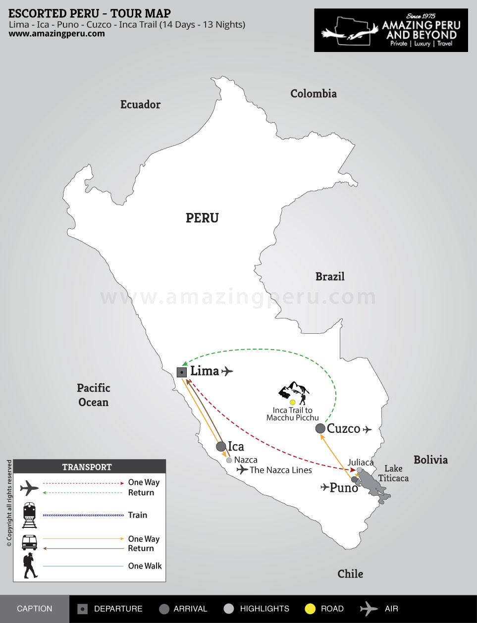 Escorted Peru Tour 5 - 14 days / 13 nights.