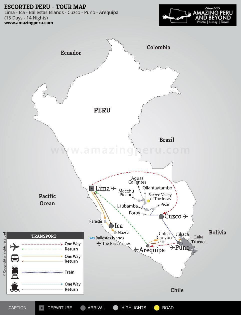 Escorted Peru Tour 1 - 15 days / 14 nights.