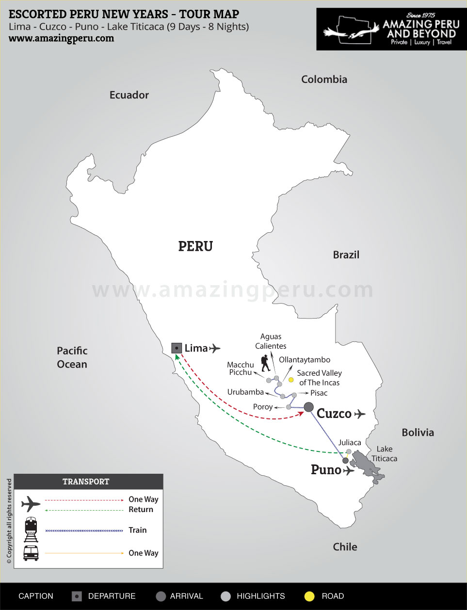 2018-19 Escorted Peru New Years 1 - 9 days / 8 nights.